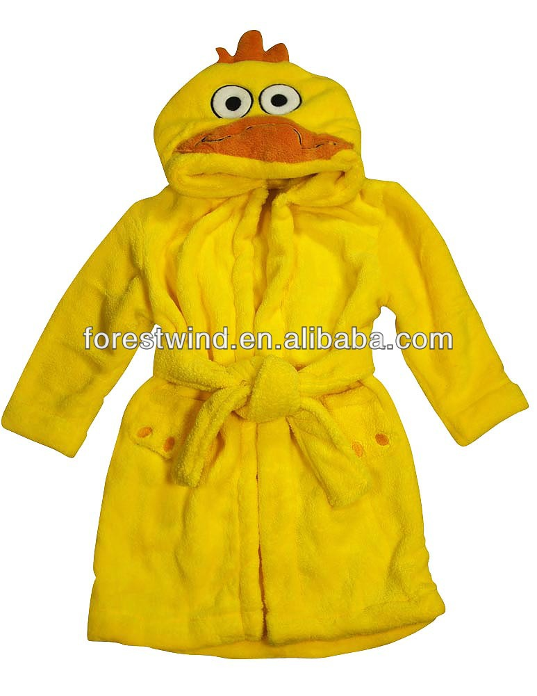 2014 new 100% organic cotton children's solid bright color hooded bathrobes
