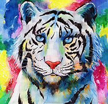 Russia Oil painting of tiger diy mosaic round painting diamond embroidery painting wall art