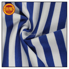 100% Polyester stripes blue and white interlock knitted fabric printed for sportswear