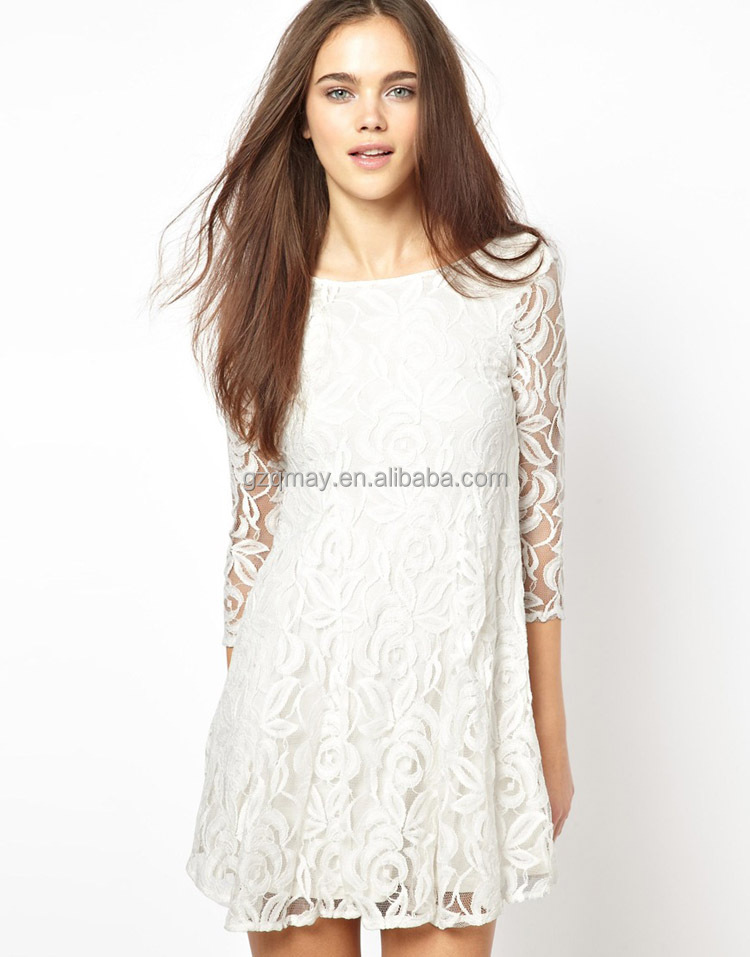 Wholesale Price OEM Good Qualilty Western 3XL New White Lace Dresses Model Summer Party Fat Women Elegant Women Casual Dress