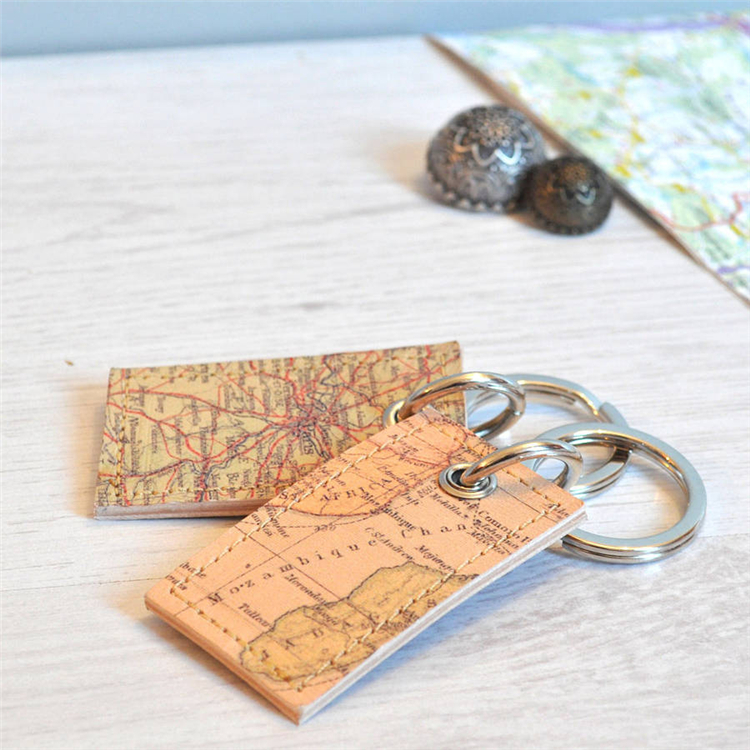 Very Special Keyring Map Printed Multifunctional Leather Bus Card/Payment Card/Security Access Control Card