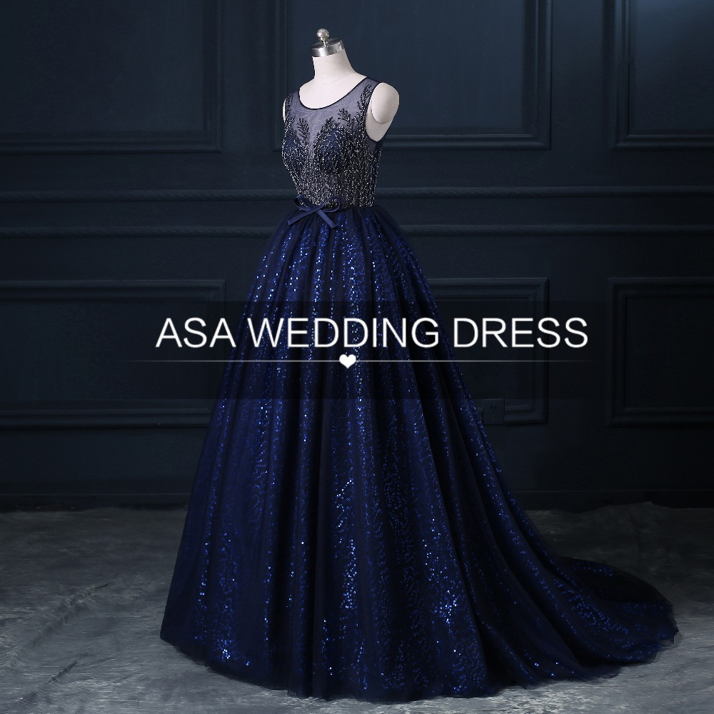 AB-006 Real Picture 2017 Luruxy Navy Blue Special Occasion Gowns Ball Gown Tulle Fully Beaded Evening Dress