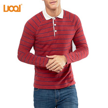 Guangzhou Luoqi Oem China Factory 100% Cotton Long Sleeves 200g Stripe Style Plain Custom Polo Shirt For Men