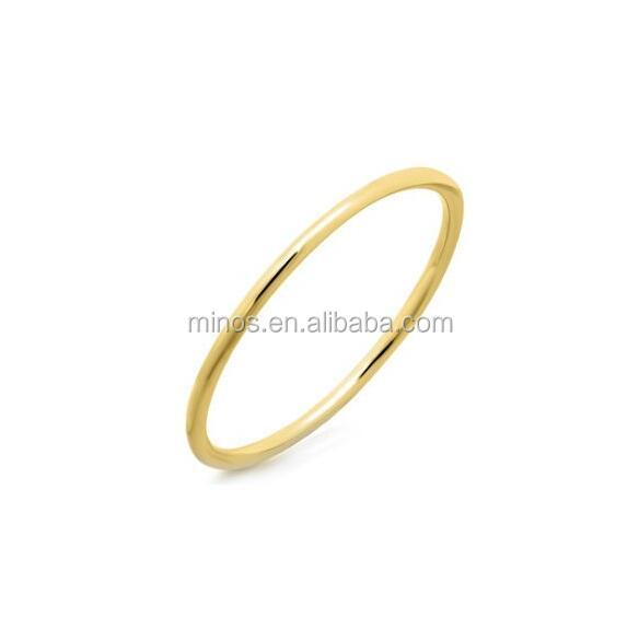 316L Stainless Steel 14k Yellow Gold Stackable Waif Ring