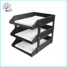 Wholesale 3-Tray portable faux leather desk drawer organizer tray