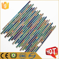 Bright in color strip iridescent glass mosaic tile background wall tile