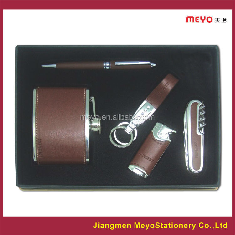 Fashion ball pen,lighter,key chain,knife,hip flask gift set for new products gift item2015