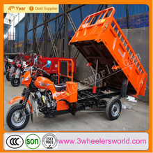 China manufacturer self dumping tricycle/cargo three wheel motorcycle with hydraulic lifter