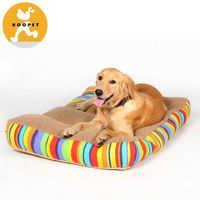 Two side multicolor rattan dog bed with canopy
