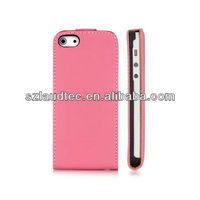 Light Pink Luxury Polished Protective Leather Flip Case Cover For APPLE iPhone 5