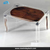 customized transparent simple rectangular acrylic dining table , lucite snack table furniture acrylic material