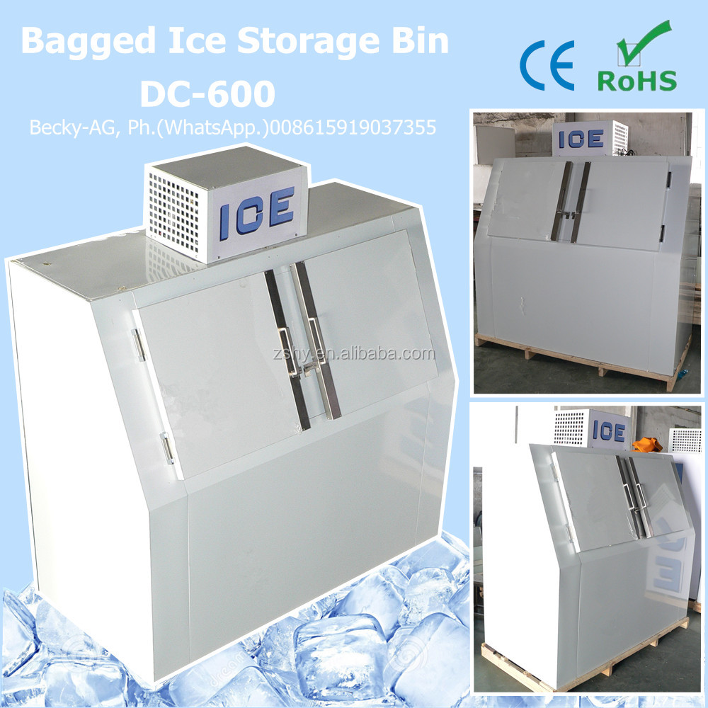 Auto defrost system bagged ice storage bin DC-600 with slant doors