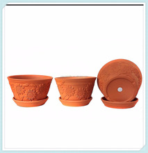 Set of 3 Raised Sunflower Embellished Natural TerraCotta Garden Pots with Trays