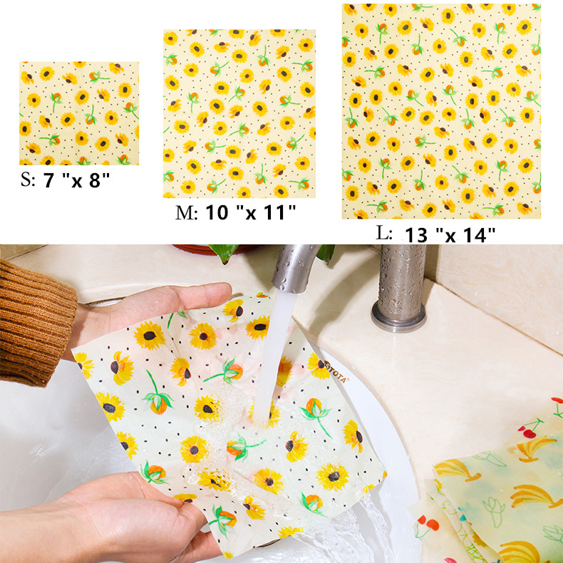 3pcs/set 100% pure natural washable eco-friendly  reusable beeswax wrap