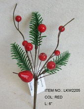 "New Artificial Flower 6"" Christmas Decoration Red Berry Pick"