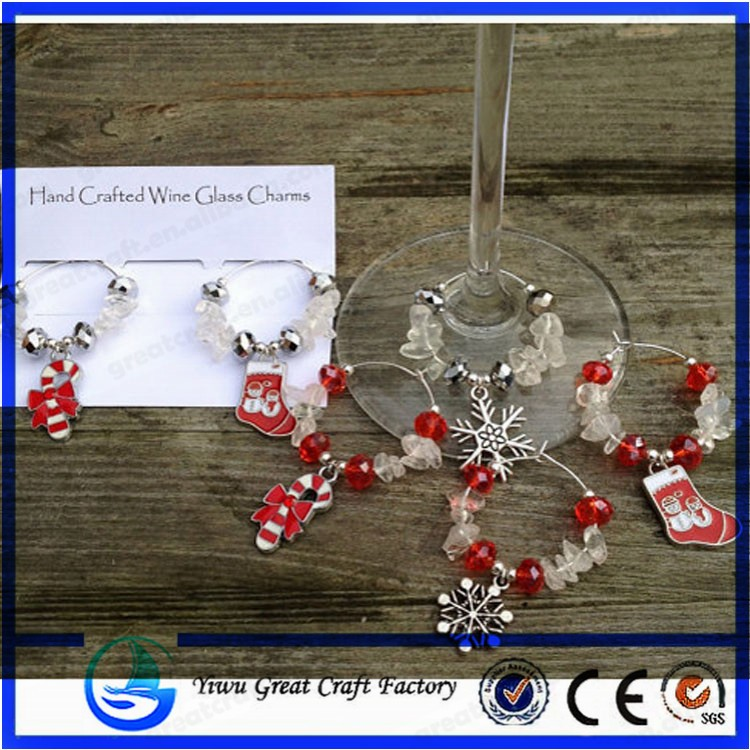 Christmas Wine Glass Charms - Clear Quartz with Festive Red and Silver Beads