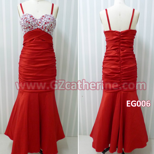 Red spaghetti strap dress backless stones beaded prom gowns