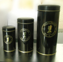 black with brand surface coffee tin box with lid