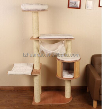 hot sell! sisal cat tree with hammock movable pad to wash