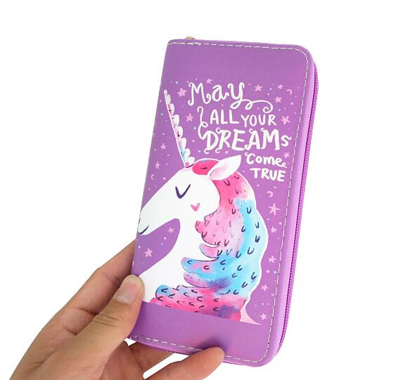 Unicorn cartoon horse head student pu wallet