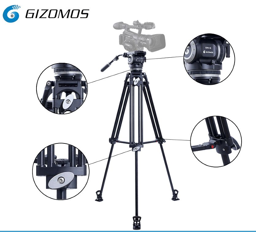 Gizomos Professional Heavy Duty DV Video Camera Tripod Fluid Pan Head Kit with Handle Case