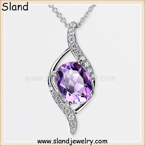 Low MOQ european lady style oval shape amethyst pendant sterling silver for necklace jewelry - Purple gemstone charm wholesale