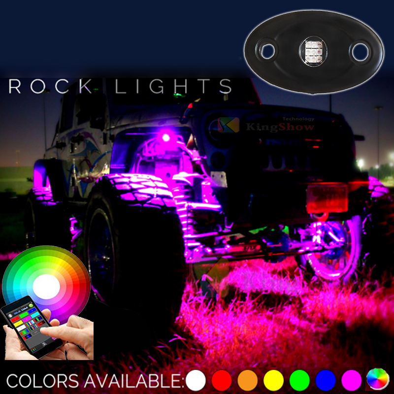 MICTUNING 4x Pods Music Bluetooth RGB LED Rock Light Off road Jeep DRL SUV Truck