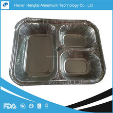 3 compartment food tray divided aluminum foil container