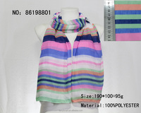 100 printed polyester summer color stripes shawl and scarf
