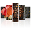 Buddha Picture Canvas Photo Prints Praying for Good Luck Chinese Style Printed Artwork Framed