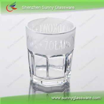 Machine made wholesale vodka glass with frosted decal printing