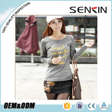 womens tight fit t-shirts with long sleeve screen printing
