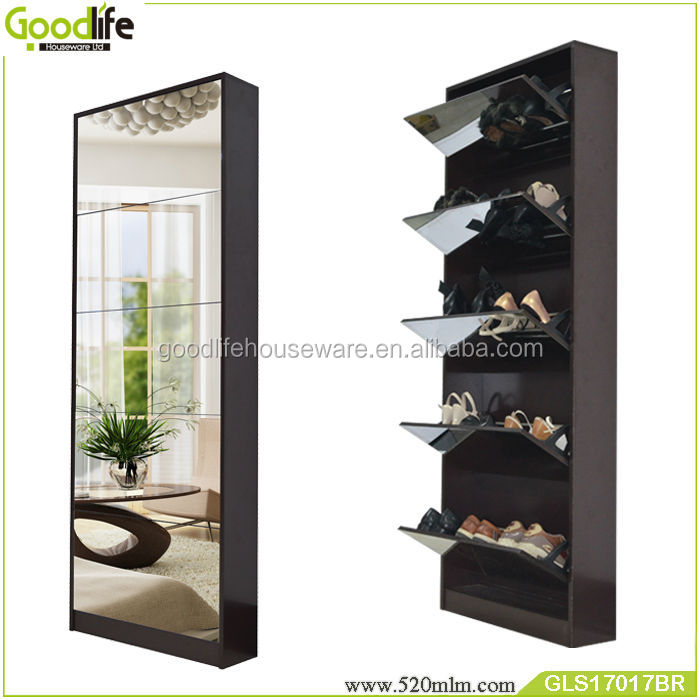 Mirrored wood shoe rack designs