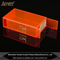 OEM/ODM transparent fluo orange acrylic storage container