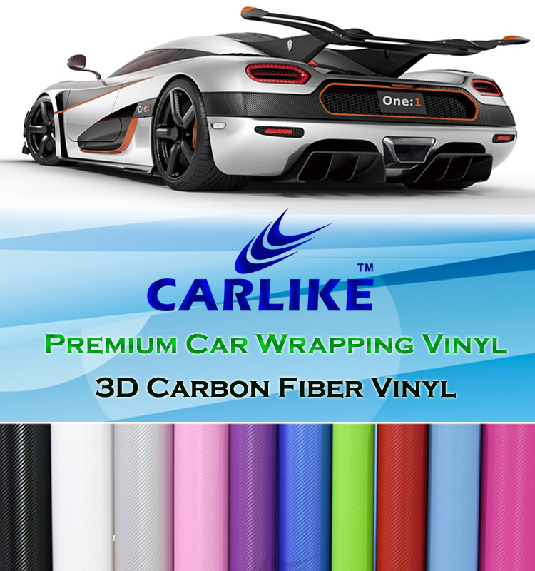 CARLIKE Guarantee 5 Years Air Free Black 2D 3D 4D 5D 6D Carbon Fiber Vinyl Stickers