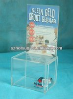 Best Clear Acrylic Donation Box With Lock And Chain Supplier on szhotsun
