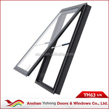 Custome Aluminum Alloy Interior Horizontally Pivoted Top Hung ventilation glass window