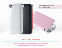 CE Rohs FCC backup battery case for iphone5 1900mAh power and changeable case in 1