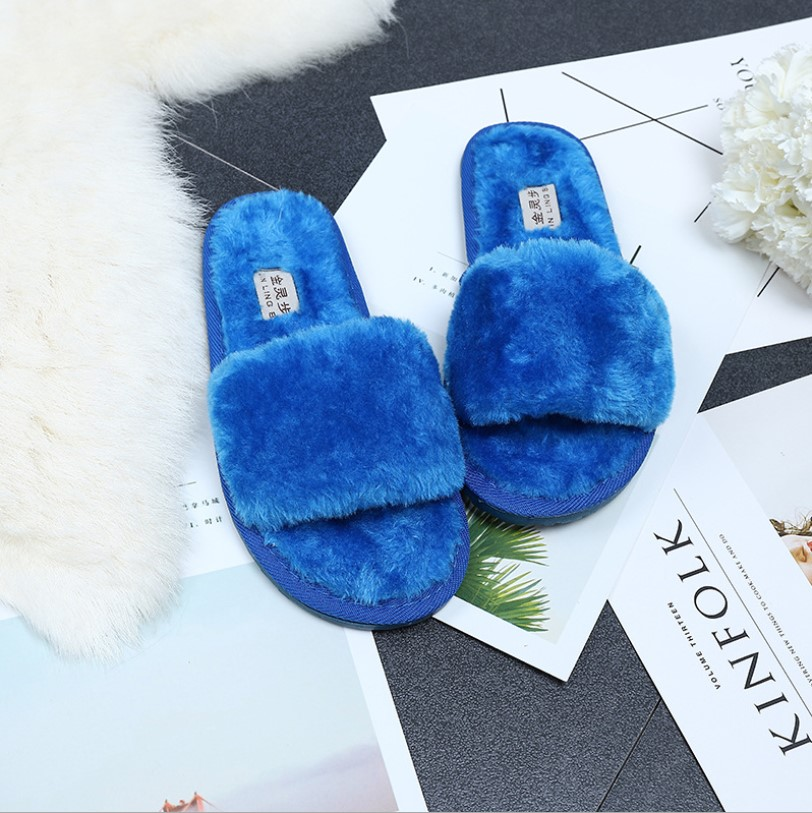 Womens House <strong>Slippers</strong> Faux Fur Flip Flop Soft Slide Flat Slip-on Shoes