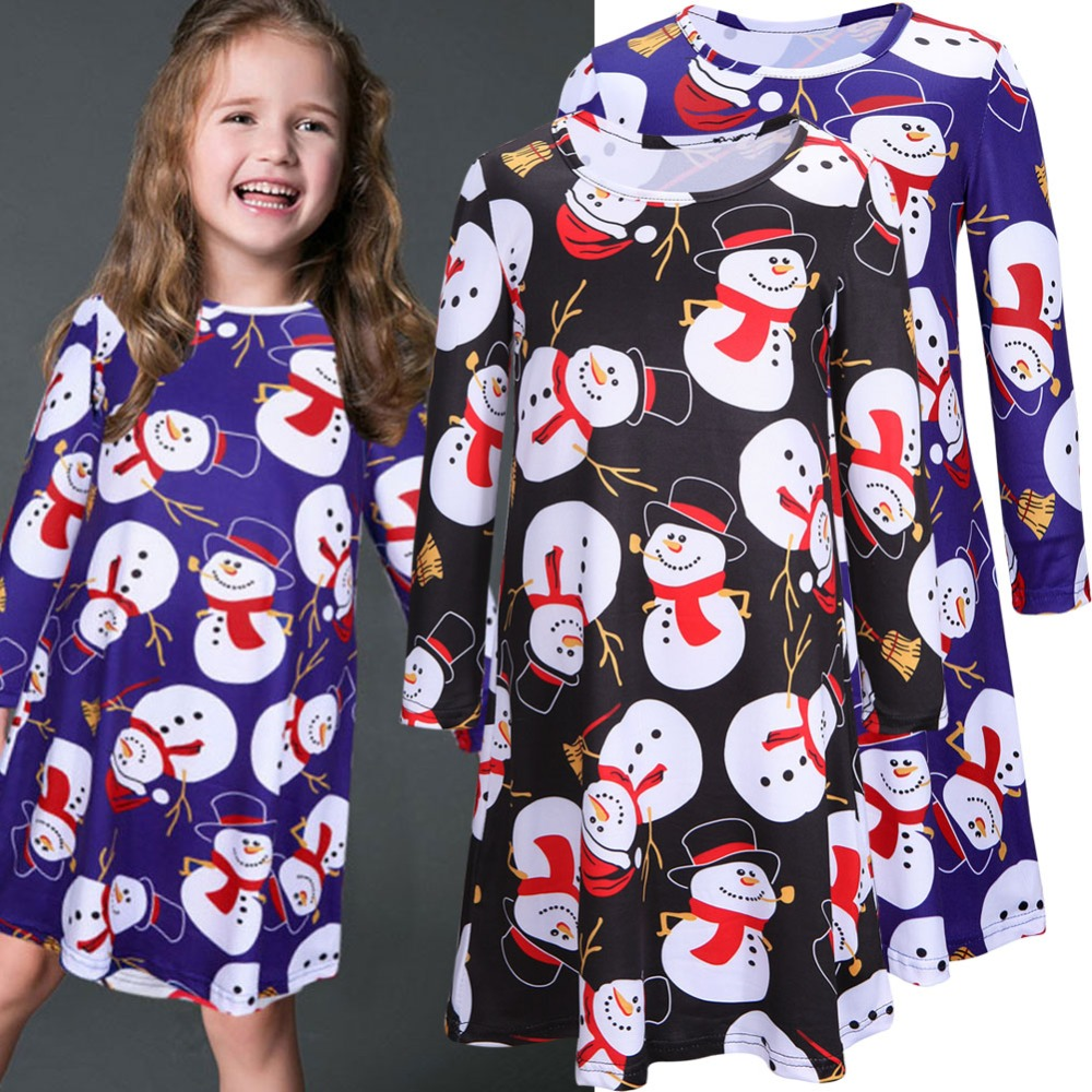 Snowman Long Sleeve Comfortable loose Night Gowns casual Sleep Dress for children