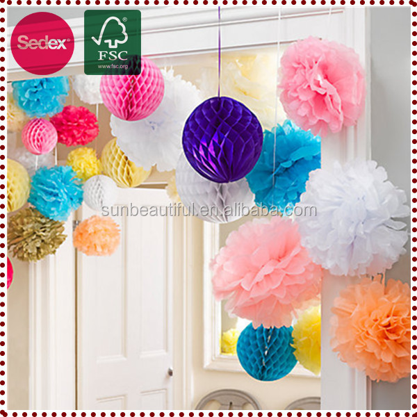 Hanging colored pompoms paper flower making craft decorations
