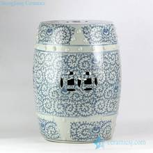 RYVM32 blue and white double happy letter Chinese wedding lawn ceramic stool