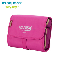 Polyester large capacity removable ladies m square travel toiletry bag hanging