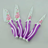High quality 4pcs color non-stick flower ceramic coating kitchen knife set