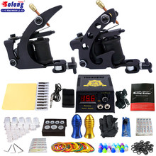 Solong tattoo kits beginners needles tips grips 2 tattoo machines complete kit professional