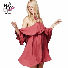HAODUOYI New Fashion Style Frill Wide Sleeve Design Mini Dress for Sale with Low Price