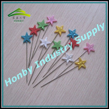 Fancy design 55mm length assorted colours plastic star head rustproof steel pins for arts design