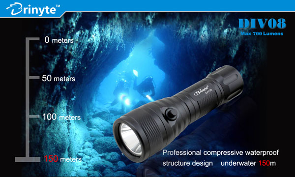 Magnetic Switch 1*18650 battery IP 68 150m underwater scuba diving powerful led flashlight