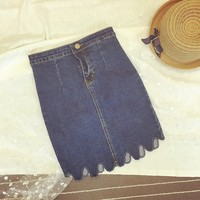 C87156A wholesale fashion jean skirts lady stretch denim skirts package hip Denim skirts