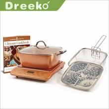 "XL 11"" Square casserole copper pot cookware set with indduction cooktop and steamer"